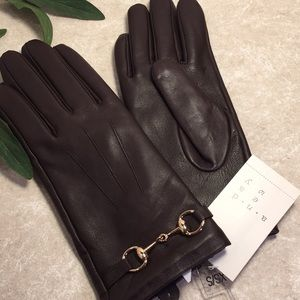 Andeawy Brown sheep leather gold accent gloves NWT
